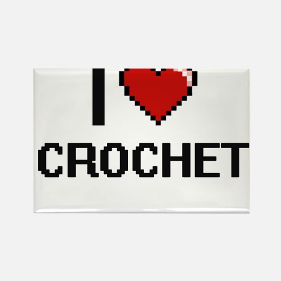 I Love Crochet Digital Retro Design Magnets