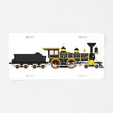steam train black Aluminum License Plate