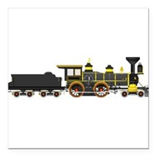 "steam train black Square Car Magnet 3"" x 3"""