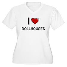 I Love Dollhouses Digital Retro Plus Size T-Shirt