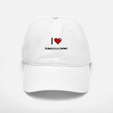 I Love Dumpster Diving Digital Retro Design Baseball Baseball Cap