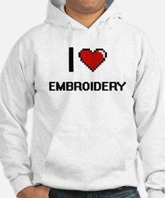 I Love Embroidery Digital Retro Hoodie