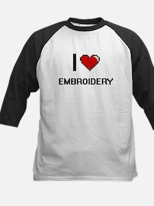 I Love Embroidery Digital Retro De Baseball Jersey