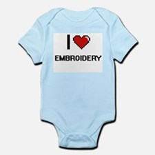 I Love Embroidery Digital Retro Design Body Suit