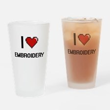I Love Embroidery Digital Retro Des Drinking Glass
