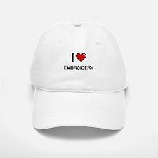 I Love Embroidery Digital Retro Design Baseball Baseball Cap