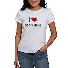 I Love Geocaching Digital Retro Design T-Shirt