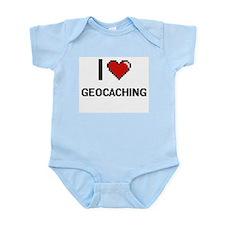 I Love Geocaching Digital Retro Design Body Suit