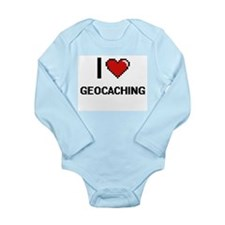 I Love Geocaching Digital Retro Design Body Suit