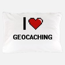 I Love Geocaching Digital Retro Design Pillow Case
