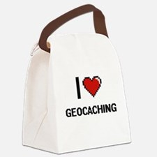 I Love Geocaching Digital Retro D Canvas Lunch Bag