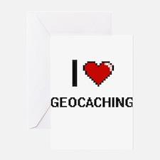 I Love Geocaching Digital Retro Des Greeting Cards