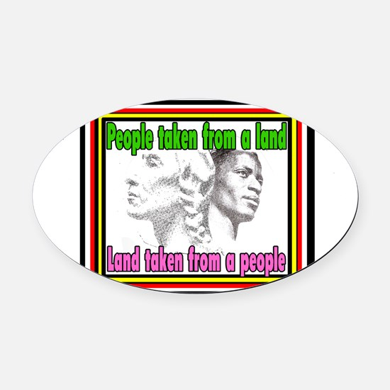 Black American Native American Oval Car Magnet
