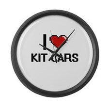 I Love Kit Cars Digital Retro Des Large Wall Clock
