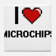 I Love Microchips Digital Retro Desig Tile Coaster