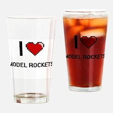 I Love Model Rockets Digital Retro Drinking Glass