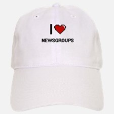 I Love Newsgroups Digital Retro Design Baseball Baseball Cap