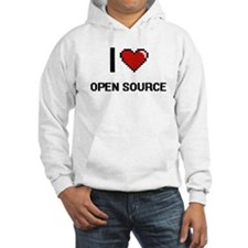 I Love Open Source Digital Retro Hoodie
