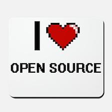 I Love Open Source Digital Retro Design Mousepad