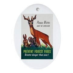 Prevent Forest Fires Oval Ornament