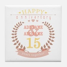 Personalized Name and Year Anniversar Tile Coaster