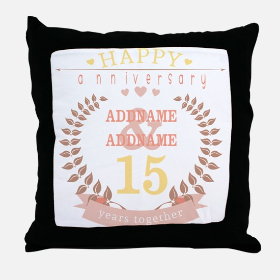Personalized Name and Year Anniversar Throw Pillow