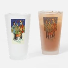 Vintage Christmas Carolers Drinking Glass
