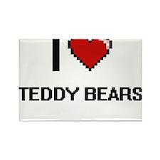 I Love Teddy Bears Digital Retro Design Magnets