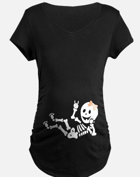 Rock On Longhorns Baby Skeleton Maternity T-Shirt