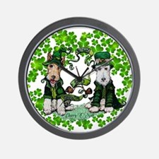 Fox Terrier St. Patrick's Day Wall Clock