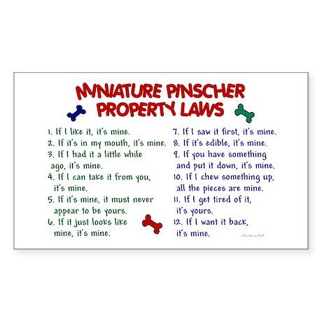 Miniature Pinscher Property Laws Sticker (Rectangu
