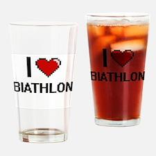 I Love Biathlon Digital Retro Desig Drinking Glass