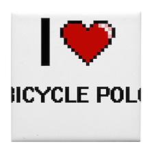 I Love Bicycle Polo Digital Retro Des Tile Coaster