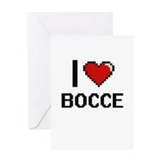 I Love Bocce Digital Retro Design Greeting Cards