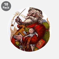 """Vintage Christmas Santa Clau 3.5"""" Button (10 pack)"""