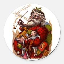 Vintage Christmas Santa Claus Round Car Magnet