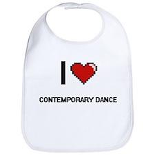 I Love Contemporary Dance Digital Retro Design Bib