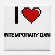 I Love Contemporary Dance Digital Ret Tile Coaster