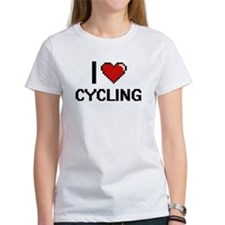 I Love Cycling Digital Retro Design T-Shirt