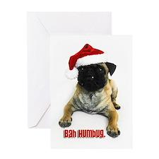 """Bah Humbug"" Pug Greeting Card"