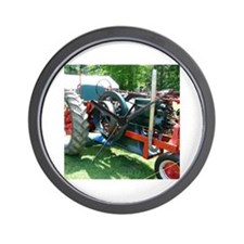antique red tractor Wall Clock