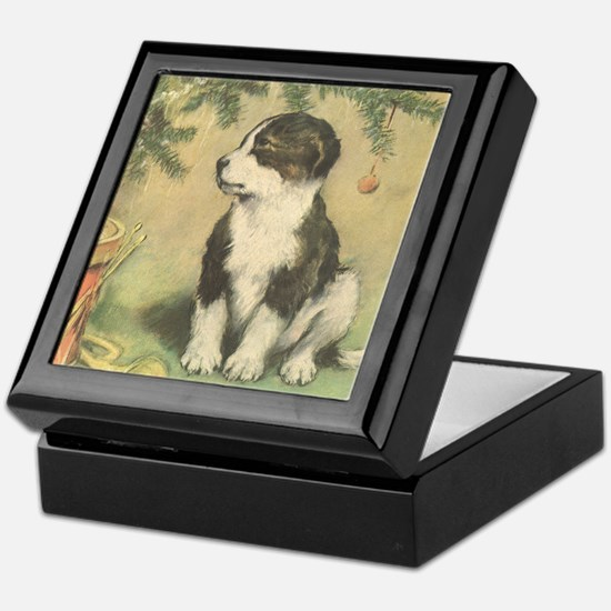Vintage Christmas Puppy Keepsake Box