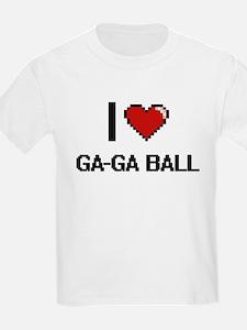 I Love Ga-Ga Ball Digital Retro Design T-Shirt