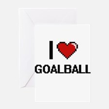 I Love Goalball Digital Retro Desig Greeting Cards