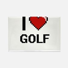 I Love Golf Digital Retro Design Magnets