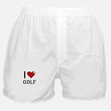 I Love Golf Digital Retro Design Boxer Shorts