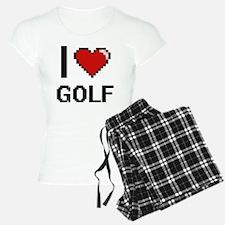 I Love Golf Digital Retro D Pajamas