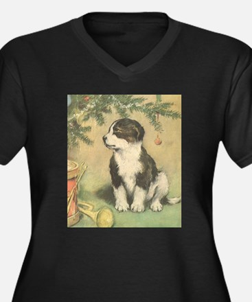 Vintage Christmas Puppy Plus Size T-Shirt