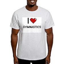 I Love Gymnastics Digital Retro Design T-Shirt