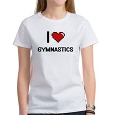 I Love Gymnastics Digital Retro Design T-Shirt